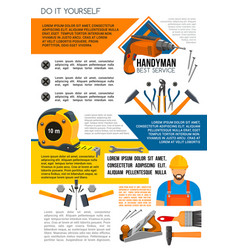 Handyman service poster of man with work tool vector