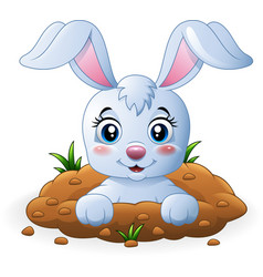 happy bunny cartoon in the hole vector image