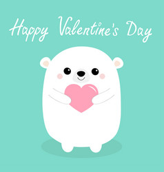 happy valentines day white baby bear head face vector image