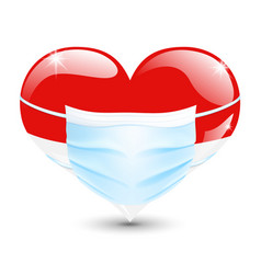 Heart in flag colors with medical mask vector