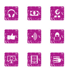 High adaptability icons set grunge style vector