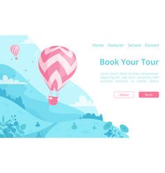 hot air balloon online booking website template vector image