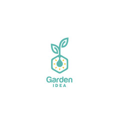 Light bulb leaf plant innovation hexagon logo vector