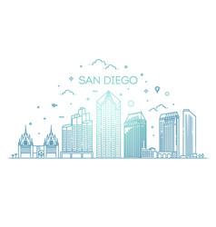 linear san diego city skyline background vector image