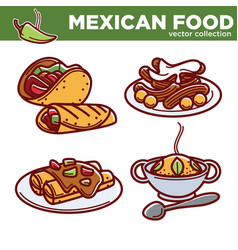 mexican food collection of tasty spicy vector image