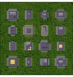 Microchip computer plate vector