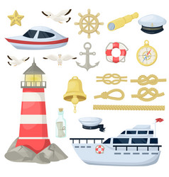 nautical navy boats anchor wheel marine and vector image