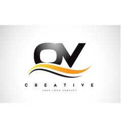 Ov o v swoosh letter logo design with modern vector