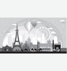 Paris skyline silhouette 7 vector