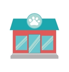 Pet shop dog cat paw print facade vector