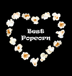 popcorn shrimps heart shape frame vector image