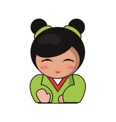 portrait doll lovely kokeshi vector image