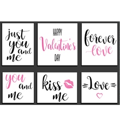 Postcards romantic set valentines day lettering vector