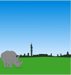 Pretoria skyline with male rhinoceros vector