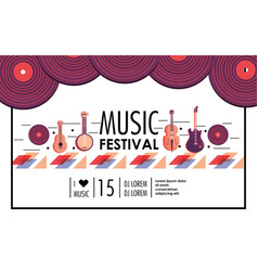 Professional instruments to music festival event vector