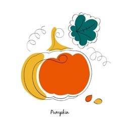 Pumpkin and leaves in cartoon style vector