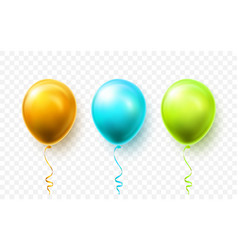 realistic blue green and gold balloons with vector image
