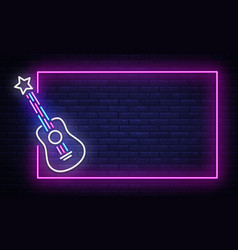 Rock music neon sign neon frame rock star vector