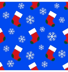 seamless pattern - christmas socks and snowflakes vector image