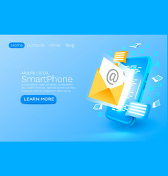 send an email message smartphone mobile screen vector image