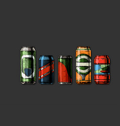 set beverage cans vector image