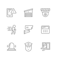 set line icons house security vector image