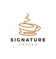 Signature coffee one line continuous logo icon vector