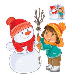 Small girl mold snowman vector