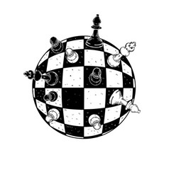 Spherical chess engraving vector