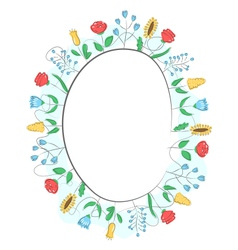Spring frame with field flowers isolated on white vector image