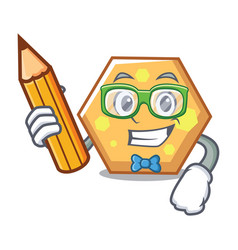 student hexagon character cartoon style vector image
