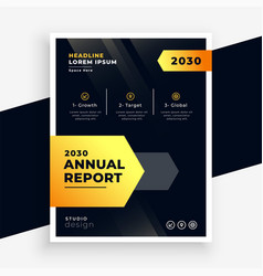 stylish black and yellow annual report flyer vector image