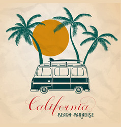 summer retro bus and surf vector image