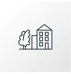 tree with building icon line symbol premium vector image