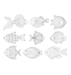 Tropical Fish Set Adult Zentangle Coloring Book vector