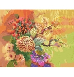 Watercolor flowers and leaves abstract background vector image