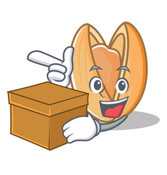 With box pistachio nut character cartoon vector