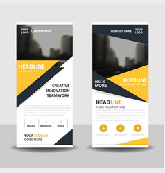 Yello triangle business roll up banner flat design vector
