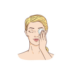 young woman remove make-up from face vector image