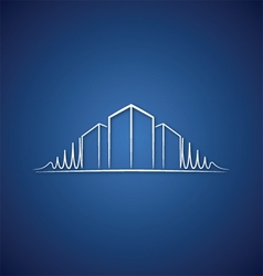 Architect logo over blue vector image