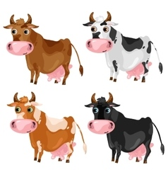 Four spotted cartoon cows animals vector image
