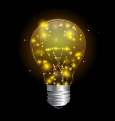 Light bulb and magic lights vector image vector image