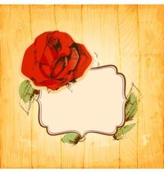 Rose frame over vintage wood texture background vector image vector image