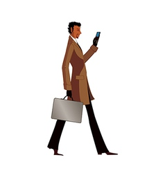 Side view of man holding mobile phone and suitcase vector image vector image