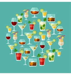 Alcohol drinks and cocktails for menu or wine list vector image