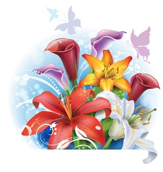 Bouquet of color Lilies and Calla vector image vector image
