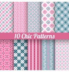 Chic different seamless patterns tiling vector image vector image