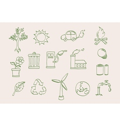 environment doodle icons vector image vector image