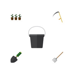 flat icon farm set of pail cutter hay fork and vector image