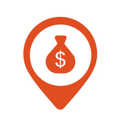 money bag with dollar sign on red map pointer vector image